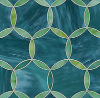 Hex Circle, a water jet jewel glass mosiac, shown in Chrysoberyl and Tanzanite is part of the Ann Sacks Beau Monde collection sold exclusively at www.annsacks.com