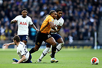 1st March 2020; Tottenham Hotspur Stadium, London, England; English Premier League Football, Tottenham Hotspur versus Wolverhampton Wanderers; Adama Traore of Wolverhampton Wanderers takes on Japhet Tanganga and Ben Davies of Tottenham Hotspur