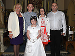 Aiofe Clarke from St Oliver's school who received her first holy communion at St Peters chuch pictured with parents Alan and Janice, brother Jack and sister Molly. Photo:Colin Bell/pressphotos.ie