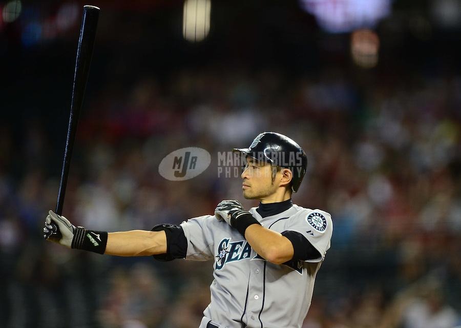 Jun. 20, 2012; Phoenix, AZ, USA; Seattle Mariners outfielder Ichiro Suzuki in the third inning against the Arizona Diamondbacks at Chase Field.  Mandatory Credit: Mark J. Rebilas-