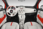 Stock photo of straight dashboard view of a 2014 Fiat 500e 3 Door Hatchback Dashboard