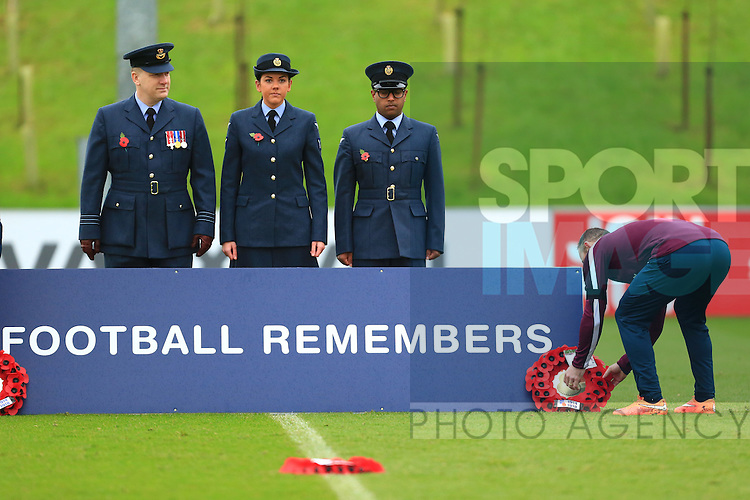 Wayne Rooney of England lays a wreath - England Training & Press Conference - UEFA Euro 2016 Qualifying - St George's Park - Burton-upon-Trent - 11/11/2014 Pic Philip Oldham/Sportimage
