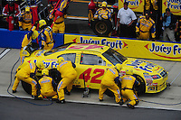 Apr 27, 2008; Talladega, AL, USA; NASCAR Sprint Cup Series driver Juan Pablo Montoya pits during the Aarons 499 at Talladega Superspeedway. Mandatory Credit: Mark J. Rebilas-
