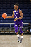 Washington, DC - December 22, 2018: High Point Panthers guard Jamal Wright (3) dribbles the ball during the DC Hoops Fest between High Point and Richmond at  Entertainment and Sports Arena in Washington, DC.   (Photo by Elliott Brown/Media Images International)