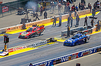 Jul 30, 2017; Sonoma, CA, USA; NHRA funny car driver Jonnie Lindberg (left) against Jack Beckman during the Sonoma Nationals at Sonoma Raceway. Mandatory Credit: Mark J. Rebilas-USA TODAY Sports