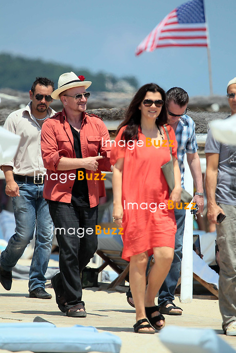 Singer Bono with wife Alison Hewson and friends leaving the Club 55 in Saint-Tropez, South France on July 5th 2013.