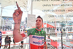 Italian National Champion Elia Viviani (ITA) Deceuninck-Quick Step signs on before the start of Stage 3 of the 2019 UAE Tour, running 179km form Al Ain to Jebel Hafeet, Abu Dhabi, United Arab Emirates. 26th February 2019.<br /> Picture: LaPresse/Massimo Paolone | Cyclefile<br /> <br /> <br /> All photos usage must carry mandatory copyright credit (© Cyclefile | LaPresse/Massimo Paolone)