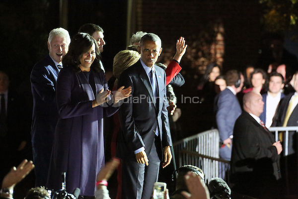 PHILADELPHIA, PA - NOVEMBER 7: First Lady, Michelle Obama,President Barack Obama, Bill Clinton and Hillary Clinton at the GOTV Rally in support of Hillary Clinton for President at Independence Mall in Philadelphia, Pennsylvania on November 7, 2016. Credit: Star Shooter/MediaPunch