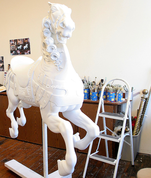 BRISTOL, CT- 30 MARCH 2007 - 033007JW06.jpg -- A carousel horse awaits painting during it's restoration at the New England Carousel Museum. Jonathan Wilcox Republican-American
