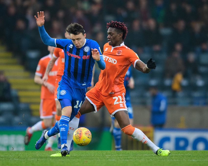 Rochdale's Ollie Rathbone is fouled by Blackpool's Armand Gnanduillet<br /> <br /> Photographer Chris Vaughan/CameraSport<br /> <br /> The EFL Sky Bet League One - Rochdale v Blackpool - Wednesday 26th December 2018 - Spotland Stadium - Rochdale<br /> <br /> World Copyright © 2018 CameraSport. All rights reserved. 43 Linden Ave. Countesthorpe. Leicester. England. LE8 5PG - Tel: +44 (0) 116 277 4147 - admin@camerasport.com - www.camerasport.com