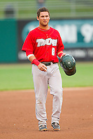 Maxx Tissenbaum (8) of the Fort Wayne TinCaps walks off the field at the end of an inning during the Midwest League game against the Lansing Lugnuts at Cooley Law School Stadium on June 5, 2013 in Lansing, Michigan.  The TinCaps defeated the Lugnuts 8-5.  (Brian Westerholt/Four Seam Images)