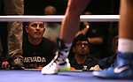 Coach Joey Gilbert watches Nevada boxer McKain Murdock and Air Force Academy boxer Ymani Nesmith compete in the National Collegiate Boxing Association action in Reno, Nev. on Friday, Jan. 31, 2020. Murdock won the bout. <br /> Photo by Cathleen Allison