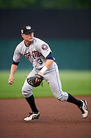 Tri-City ValleyCats third baseman Tyler Wolfe (3) fields a ground ball during a game against the Auburn Doubledays on August 25, 2016 at Falcon Park in Auburn, New York.  Tri-City defeated Auburn 4-3.  (Mike Janes/Four Seam Images)