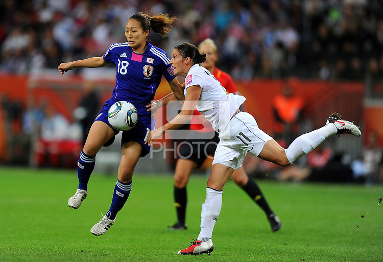 Alex Krieger (r) of team USA and Karina Maruyama of team Japan during the FIFA Women's World Cup Final USA against Japan at the FIFA Stadium in Frankfurt, Germany on July 17th, 2011.