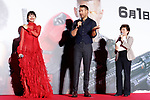 (L to R) Japanese actress Shiori Kutsuna and Canadian actor Ryan Reynolds, speak during the Japan Premiere for their film Deadpool 2 on May 29, 2018, Tokyo, Japan. The second installment of the Marvel hit movie will be released in Japan onJune 1st. (Photo by Rodrigo Reyes Marin/AFLO)