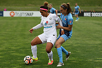 Piscataway, NJ - Sunday April 30, 2017: Desiree Scott and Sarah Killion during a regular season National Women's Soccer League (NWSL) match between Sky Blue FC and FC Kansas City at Yurcak Field.