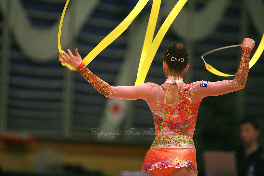 Eleni Andriola of Greece waves with ribbon at 2006 Burgas Grand Prix from Burgas, Bulgaria on May 6, 2006.  (Photo by Tom Theobald)