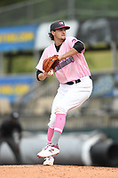 Hickory Crawdads starting pitcher Tim Brennan (15) throws to a batter during the game with the Charleston Riverdogs at L.P. Frans Stadium on May 12, 2019 in Hickory, North Carolina.  The Riverdogs defeated the Crawdads 13-5. (Tracy Proffitt/Four Seam Images)