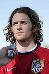 John O'Brien talks with the press on Monday, April 10th, 2006 at SAS Stadium in Cary, North Carolina. The United States Men's National Team practiced the day before playing an international friendly against Jamaica.