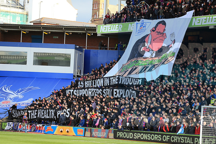 Crystal Palace's fans unfurl an anti Premier League banner<br /> <br /> Barclays Premier League - Crystal Palace  vs Arsenal  - Selhurst Park - England - 21st February 2015 - Picture David Klein/Sportimage
