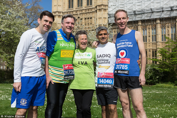 Andy Burnham, Ed Balls, Iva Barr, Sadiq Khan, Jim Murphy,  attend a Members of Parliament (MP's) London Marathon photocall in Westminster, London on March 8th 2014. Iva Barr aged 86 is the oldest female UK Marathon runner.