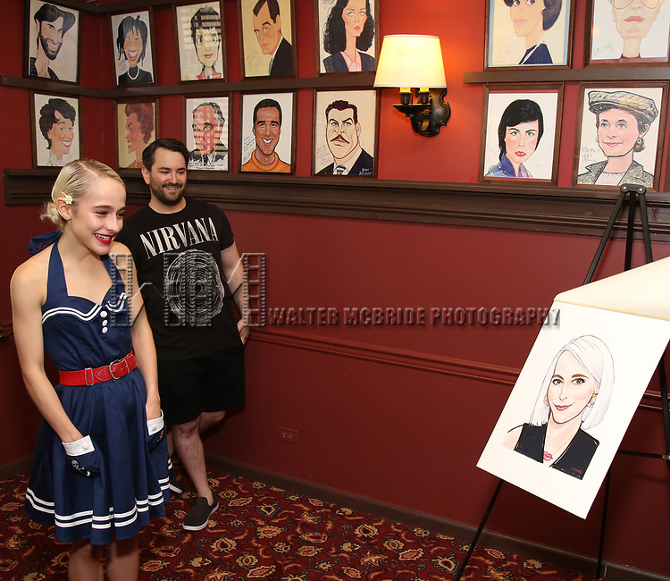 Sophia Anne Caruso and Alex Brightman during the Sophia Anne Caruso Sardi's Portrait Unveiling at Sardi's on July 10, 2019 in New York City.