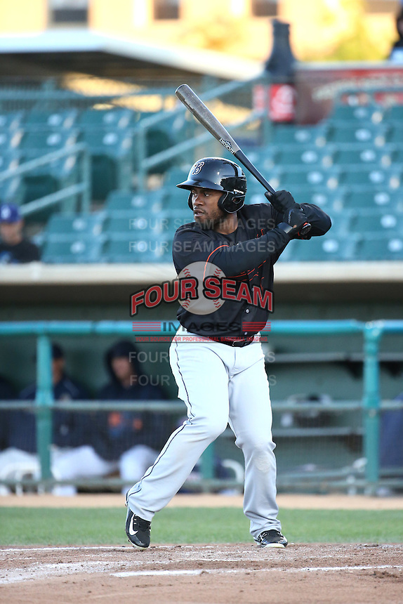 Arby Fields (9) of the Bakersfield Blaze bats against the Lancaster JetHawks at The Hanger on April 28, 2016 in Lancaster, California. Lancaster defeated Bakersfield, 5-4. (Larry Goren/Four Seam Images)