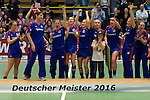 GER - Luebeck, Germany, February 07: Players of Mannheimer HC wait to receive their trophy after winning the Deutsche Meisterschaft during the prize giving ceremony at the Final 4 on February 7, 2016 at Hansehalle Luebeck in Luebeck, Germany. (Photo by Dirk Markgraf / www.265-images.com) *** Local caption *** Nadine Stelter #13 of Mannheimer HC is honored as Best Goalkeeper of the Final4