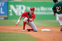 Lakewood BlueClaws shortstop Nick Maton (6) waits for a throw as Jhonny Santos (21) attempts to steal second base during a game against the Greensboro Grasshoppers on June 10, 2018 at First National Bank Field in Greensboro, North Carolina.  Lakewood defeated Greensboro 2-0.  (Mike Janes/Four Seam Images)