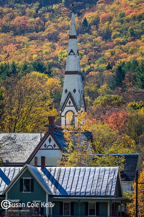 Steeples in Royalton, a Vermont village in autumn