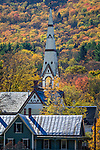 Steeples in Royalton, a Vermont village in autumn