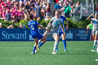 Boston, MA - Saturday June 24, 2017: Amanda DaCosta and Samantha Mewis during a regular season National Women's Soccer League (NWSL) match between the Boston Breakers and the North Carolina Courage at Jordan Field.