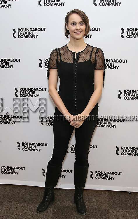 "Sara Topham attends the ""Travesties"" Meets The Press on March 6, 2018 at the Roundabout Theatre in New York City."