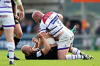 Matt Kvesic of Exeter Chiefs and Dan Cole of Leicester Tigers get to know each other. Gallagher Premiership match, between Exeter Chiefs and Leicester Tigers on September 1, 2018 at Sandy Park in Exeter, England. Photo by: Patrick Khachfe / JMP