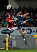 Liam Williams and Matt Duffie collide during the 2017 DHL Lions Series rugby union match between the Blues and British & Irish Lions at Eden Park in Auckland, New Zealand on Wednesday, 7 June 2017. Photo: Dave Lintott / lintottphoto.co.nz