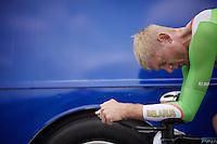 Kanstantsin Siutso (BLR/SKY) warming up<br /> <br /> Elite Men TT<br /> UCI Road World Championships / Richmond 2015