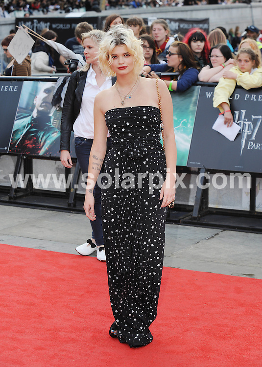 **ALL ROUND PICTURES FROM SOLARPIX.COM**                                             **WORLDWIDE SYNDICATION RIGHTS**                                                                                  Caption:  arrivals at the World Premiere of Harry Potter and The Deathly Hallows - Part 2, Trafalgar Square, London, UK. 7 July 2011                                                                             This pic: Pixie Geldof                                                                                          JOB REF: 13679 LNJ       DATE: 07_07_2011                                                           **MUST CREDIT SOLARPIX.COM OR DOUBLE FEE WILL BE CHARGED**                                                                      **MUST AGREE FEE BEFORE ONLINE USAGE**                               **CALL US ON: +34 952 811 768 or LOW RATE FROM UK 0844 617 7637**
