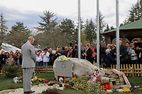 Il Principe Carlo visita il Memoriale delle vittime del terremoto<br /> Prince Charles of Wales visits the memorial for the victims of earthquake. Two of the victims were English<br /> Amatrice 02/04/2017. Il Principe Carlo del Galles in visita nella zona terremotata di Amatrice<br /> Amatrice April 2nd 2017. Prince Charles of Wales visits Amatrice, hit by the earthquake of 24 August. <br /> Foto Pool / Protezione Civile / Insidefoto