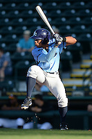 Charlotte Stone Crabs second baseman Kean Wong (4) at bat during a game against the Bradenton Marauders on April 22, 2015 at McKechnie Field in Bradenton, Florida.  Bradenton defeated Charlotte 7-6.  (Mike Janes/Four Seam Images)