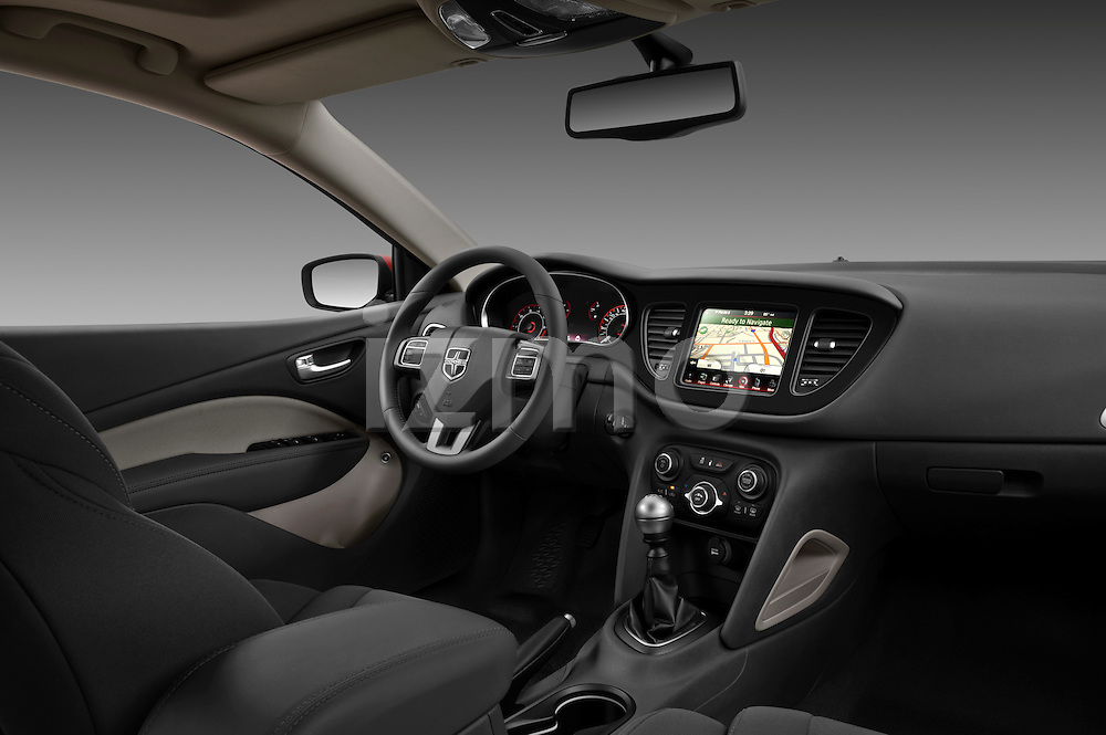 Passenger side dashboard photo of a 2013 Dodge Dart Rallye sedan