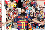 FC Barcelona's Luis Suarez (l) and Neymar Santos Jr celebrate goal during La Liga match. May 14,2016. (ALTERPHOTOS/Acero)