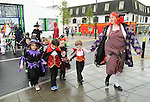 Children from Ennis Holy Family school march with teacher Trina Waters in procession to the Market before the annual  Clare Champion Halloween Party. Photograph by John Kelly.