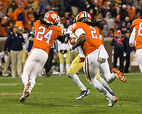The eighth ranked Clemson Tigers defeat the Georgia Tech Yellow Jackets at Death Valley 55-31 in an ACC matchup.  Clemson Tigers wide receiver Sammy Watkins (2), Clemson Tigers running back Zac Brooks (24)