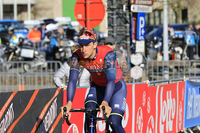 David Per (SLO) Bahrain-Merida heads to sign on before the start of Gent-Wevelgem in Flanders Fields 2017, running 249km from Denieze to Wevelgem, Flanders, Belgium. 26th March 2017.<br /> Picture: Eoin Clarke | Cyclefile<br /> <br /> <br /> All photos usage must carry mandatory copyright credit (&copy; Cyclefile | Eoin Clarke)