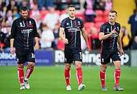 Lincoln City's Michael Bostwick, left, Jason Shackell, centre and Harry Toffolo<br /> <br /> Photographer Andrew Vaughan/CameraSport<br /> <br /> The EFL Sky Bet League One - Lincoln City v Fleetwood Town - Saturday 31st August 2019 - Sincil Bank - Lincoln<br /> <br /> World Copyright © 2019 CameraSport. All rights reserved. 43 Linden Ave. Countesthorpe. Leicester. England. LE8 5PG - Tel: +44 (0) 116 277 4147 - admin@camerasport.com - www.camerasport.com