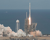 The SpaceX Falcon 9 rocket, with the Dragon spacecraft onboard, launches from pad 39A at NASA's Kennedy Space Center in Cape Canaveral, Florida, Saturday, June 3, 2017. Dragon is carrying almost 6,000 pounds of science research, crew supplies and hardware to the International Space Station in support of the Expedition 52 and 53 crew members. The unpressurized trunk of the spacecraft also will transport solar panels, tools for Earth-observation and equipment to study neutron stars. This will be the 100th launch, and sixth SpaceX launch, from this pad. Previous launches include 11 Apollo flights, the launch of the unmanned Skylab in 1973, 82 shuttle flights and five SpaceX launches. <br /> Mandatory Credit: Bill Ingalls / NASA via CNP