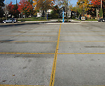 Permeable or porous concrete parking lot