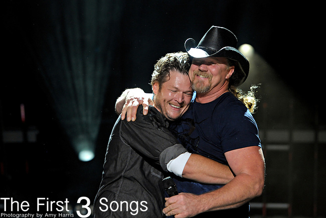 Blake Shelton and Trace Adkins perform at LP Field during the 2011 CMA Music Festival on June 12, 2011 in Nashville, Tennessee.