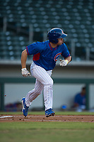 AZL Cubs left fielder Grant Fennell (19) starts down the first base line during an Arizona League game against the AZL Brewers at Sloan Park on June 29, 2018 in Mesa, Arizona. The AZL Cubs 1 defeated the AZL Brewers 7-1. (Zachary Lucy/Four Seam Images)