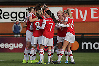 Leah Williamson of Arsenal scores the second goal for her team and celebrates with her team mates during Arsenal Women vs Bristol City Women, Barclays FA Women's Super League Football at Meadow Park on 1st December 2019